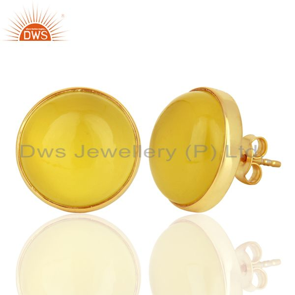 Exporter Yellow Onyx Round  Bezel Set 925 Sterling Silver 18K Gold Plated Stud Earrings