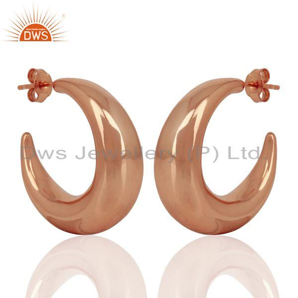 Exporter Large Hollow Half Hoop 925 Sterling Silver Rose Gold Plated Earrings