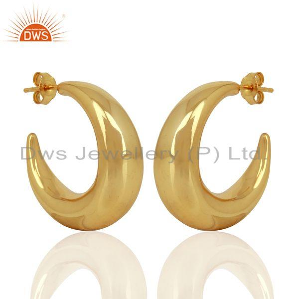 Exporter Large Hollow Half Hoop 925 Sterling Silver 14K Yellow Gold Plated Earrings
