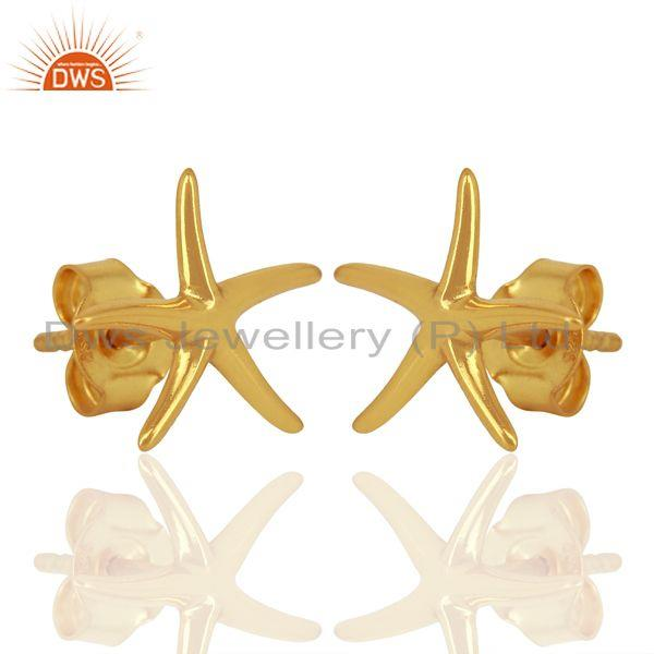 Exporter Gold Plated Star Design Plain Silver Stud Earring For Girls Jewelry