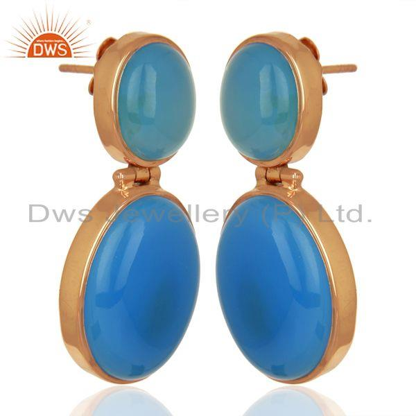Exporter Rose Gold Plated 925 Silver Blue Chalcedony Gemstone Earrings Supplier