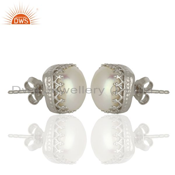 Exporter 925 Silver Crown Design Natural Pearl Gemstone Stud Earrings Supplier