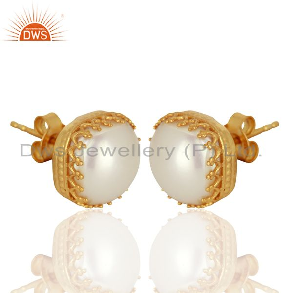 Exporter Crown Design Gold Plated Silver Natural Pearl Gemstone Stud Earrings