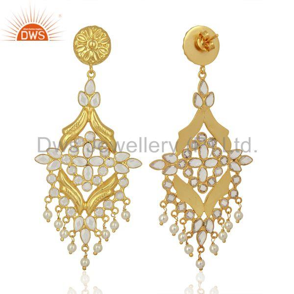 Exporter CZ Pearl Gemstone Gold Plated Silver Traditional Earrings Manufacturer
