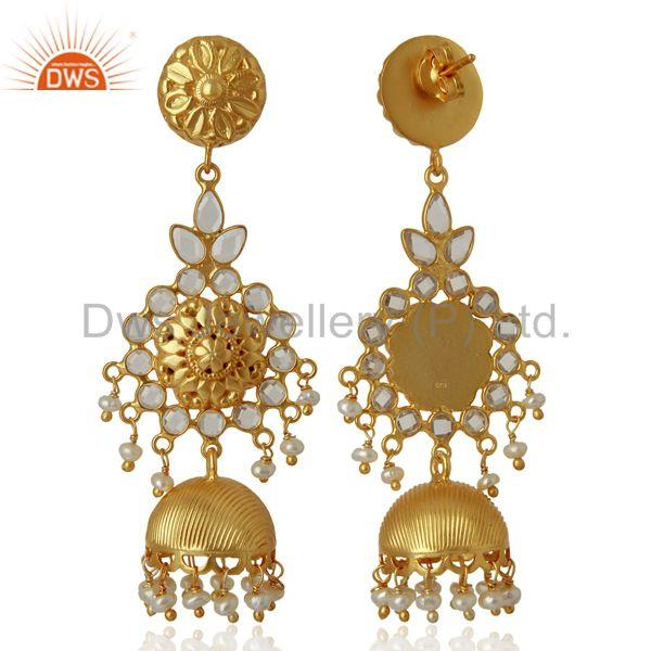 Exporter CZ Gold Plated Silver Womens Traditional Earrings Manufacturer