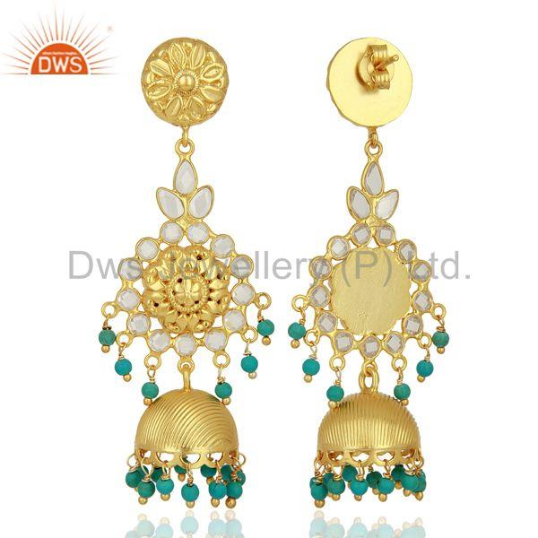 Exporter Turquoise and CZ Gemstone Gold Plated Silver Traditional Earrings