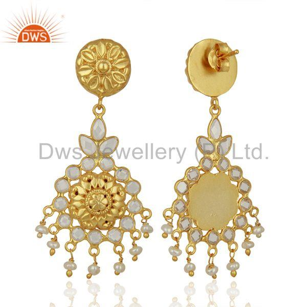 Exporter Traditional Gold Plated CZ Gemstone Silver Earring Jewelry Manufacture