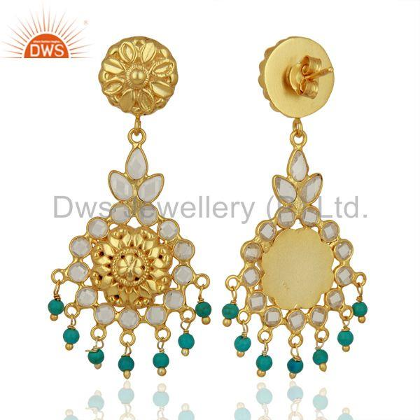 Exporter Cz Turquoise Gemstone Gold Plated Silver Earrings Jewelry Supplier