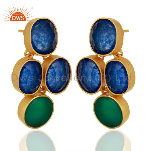 Exporter Green Onyx and Blue Aventurine Gemstone 925 Silver Earrings Supplier