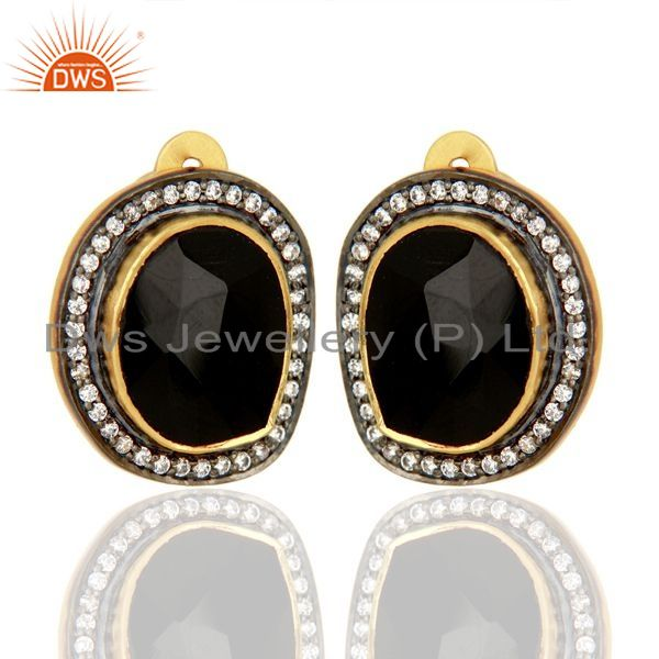 Exporter Natural Black Onyx Gemstone CZ Gold Plated Silver Stud Clip Earrings