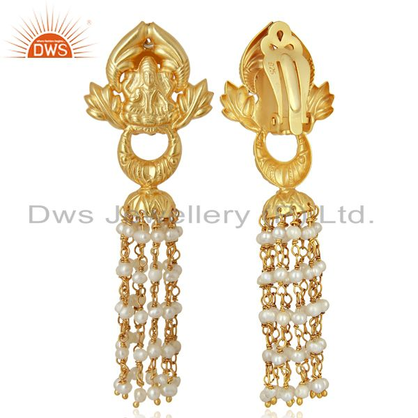 Exporter Natural Pearl Gemstone Gold Plated Silver Traditional Earrings