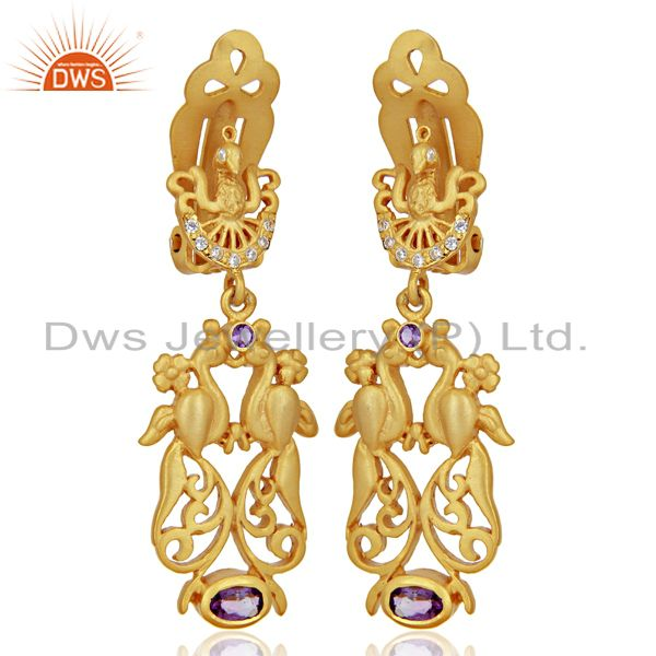 Exporter Natural Amethyst CZ Gemstone Gold Plated Silver Clip Earrings Supplier