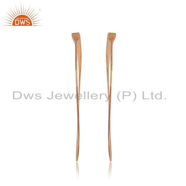 Exporter Handmade Rose Gold Plated 925 Sterilng Silver Hoop Earrings Manufacturer INdia