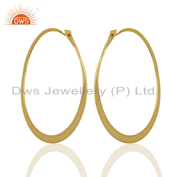 Exporter Handmade Gold Plated 925 Silver Hoop Earrings Jewelry Manufacturer