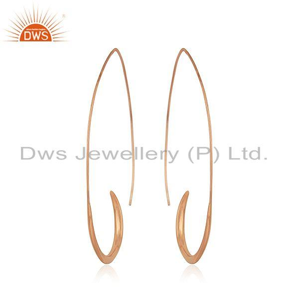 Exporter Rose Gold Plated 925 Silver Simple Wire Hoop Earrings Manufacturer of Jewelry
