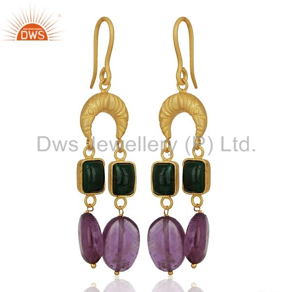Exporter Tanzanite Gemstone Gold Plated Designer Silver Earrings Supplier