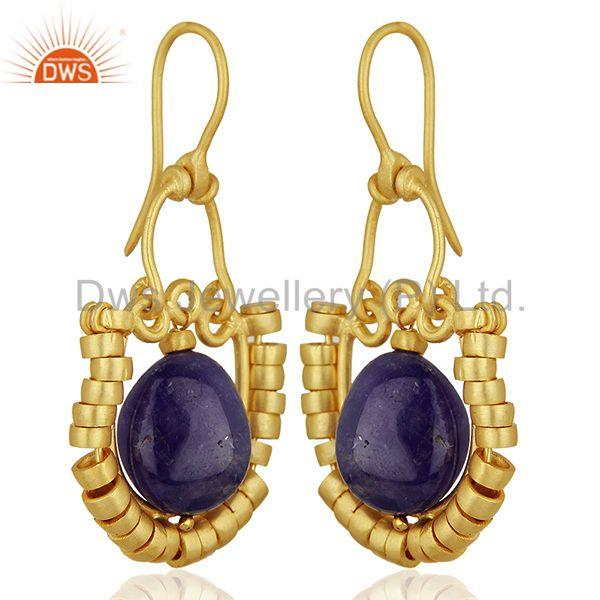 Exporter Malachite and Amethyst Gemstone Gold Plated 925 Silver Earring Jewelry