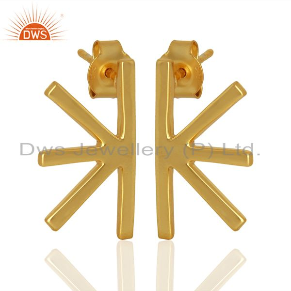 Exporter Wholesale Handmade Gold Plated 925 Sterling Silver Designer Earrings