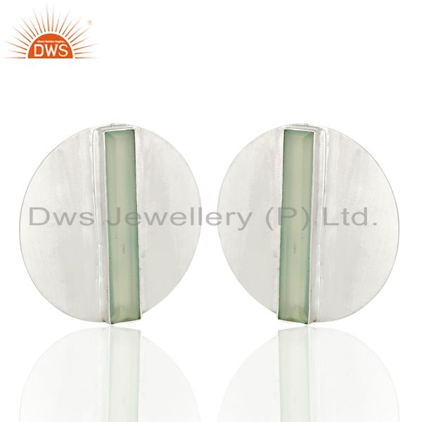 Exporter New Sterling Fine Silver Aqua Chalcedony Gemstone Stud Earring Jewelry