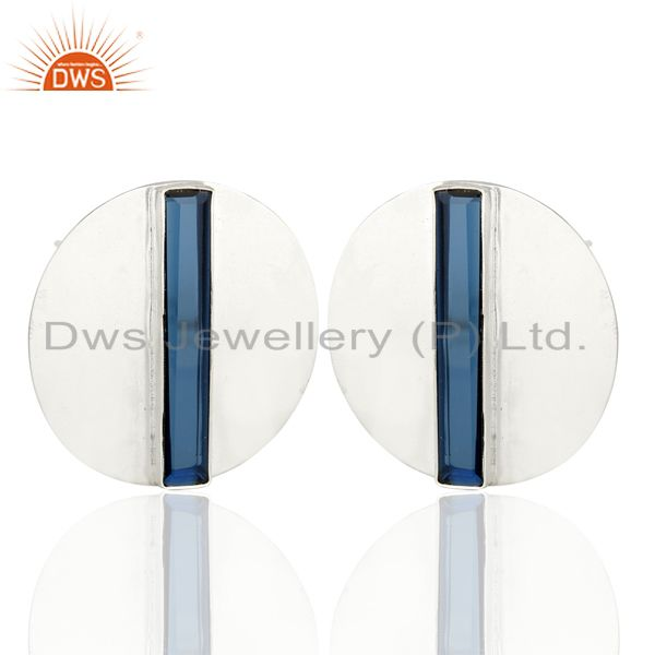 Exporter Corundum Blue Gemstone 925 Sterling Silver Stud Earrings Manufacturer