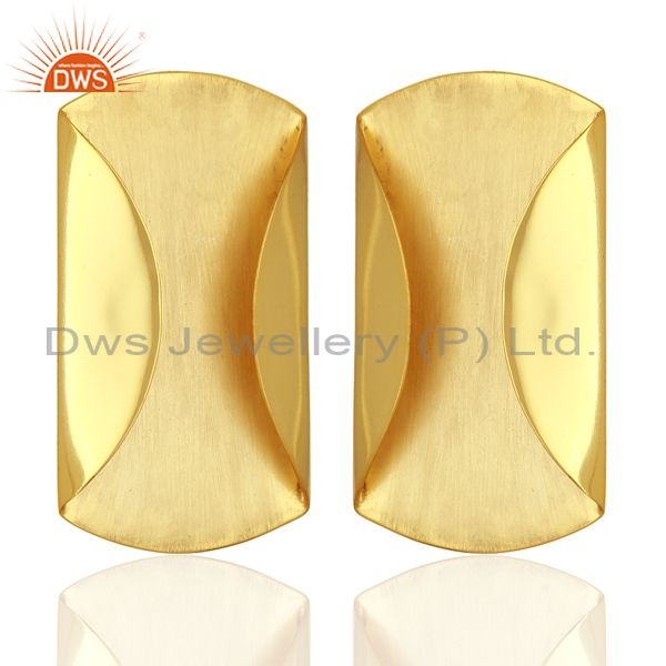 Exporter Designer Yellow Gold Plated 925 Silver Stud Earrings Jewelry Supplier