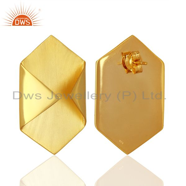 Exporter Handmade Gold Plated 925 Silver Designer Stud Earrings Jewelry