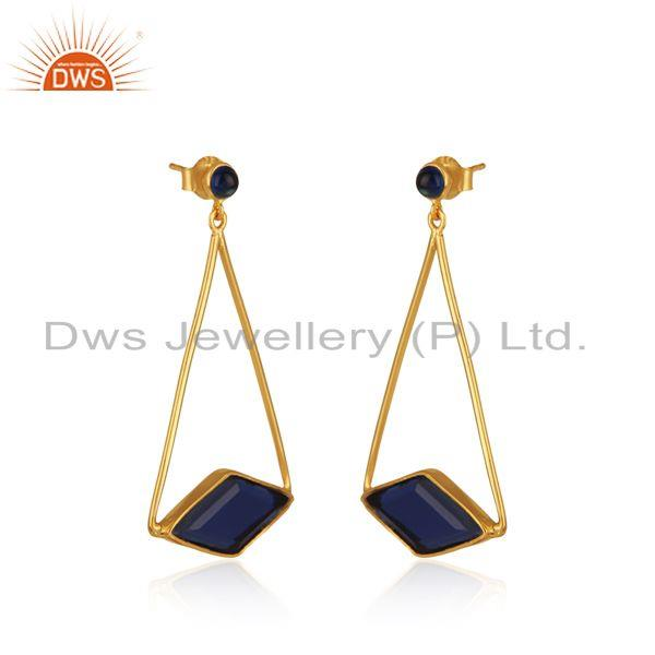 Exporter Designer 925 Sterling Silver Blue Corundum Gemstone Earrings Supplier