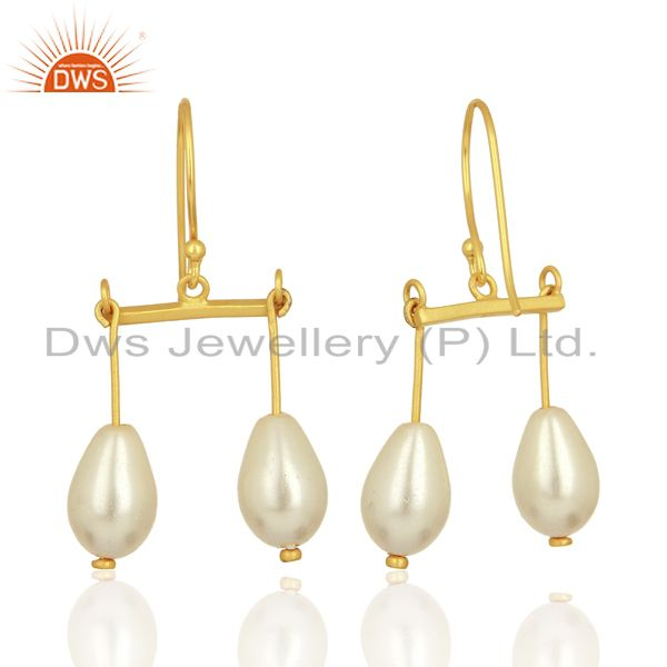 Exporter Natural Pearl Gemstone Gold Plated 925 Silver Womens Earring Wholesale