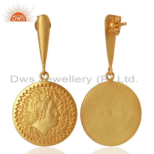 Exporter Handcrafted Yellow Gold Plated Plain Silver Earrings Manufacturer