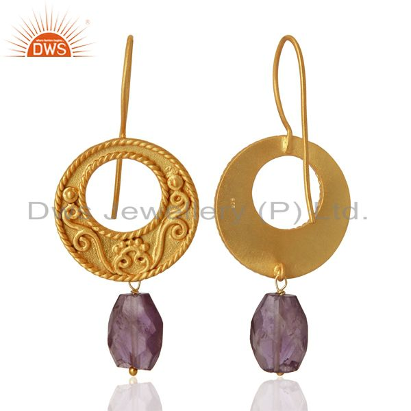 Exporter Gold Plated Silver Natural Amethyst Gemstone Earrings Manufacturer