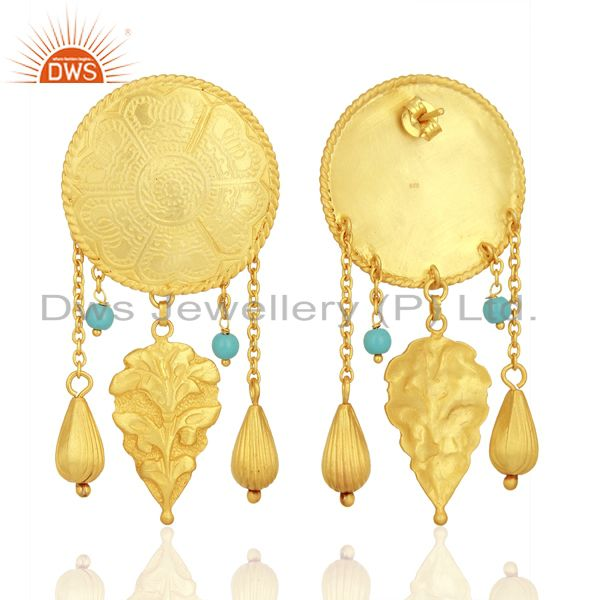 Exporter Gold Plated Silver Turquoise Gemstone Earrings Jewelry Manufacturer