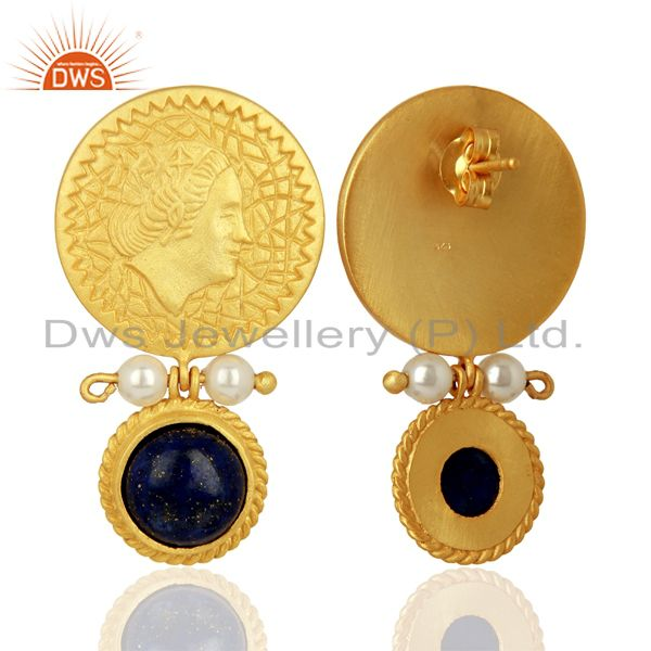 Exporter Lapis and Pearl Gemstone Silver Gold Plated Earrings Jewelry Wholesale