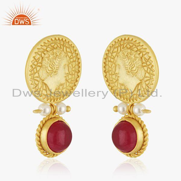 Exporter Handcraved 925 Silver Yellow Gold Plated Gemstone Drop Earrings Manufacturer