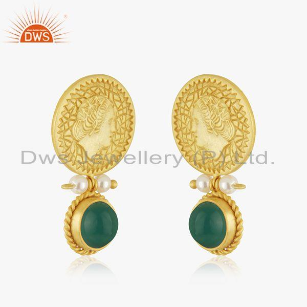 Exporter Yellow Gold Plated Sterling Silver Handcarved Queen Face Earrings Wholesale