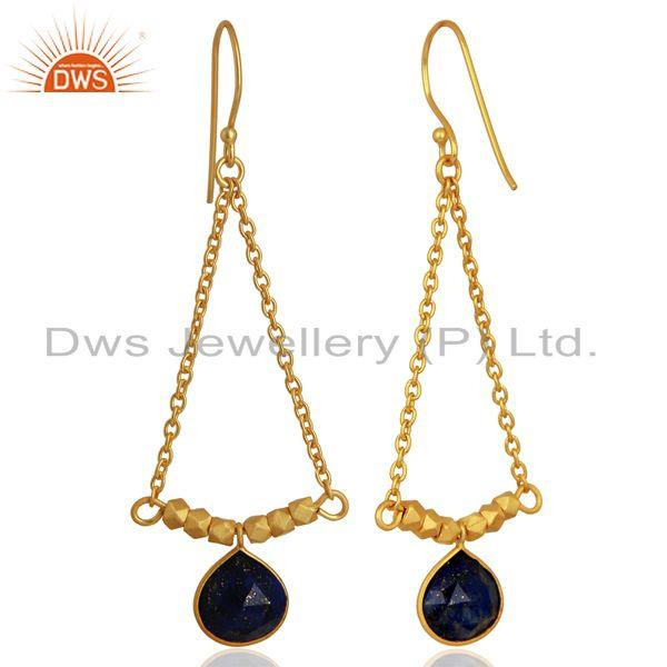 Exporter Natural Lapis Gemstone 925 Silver Gold Plated Earrings Manufacturer