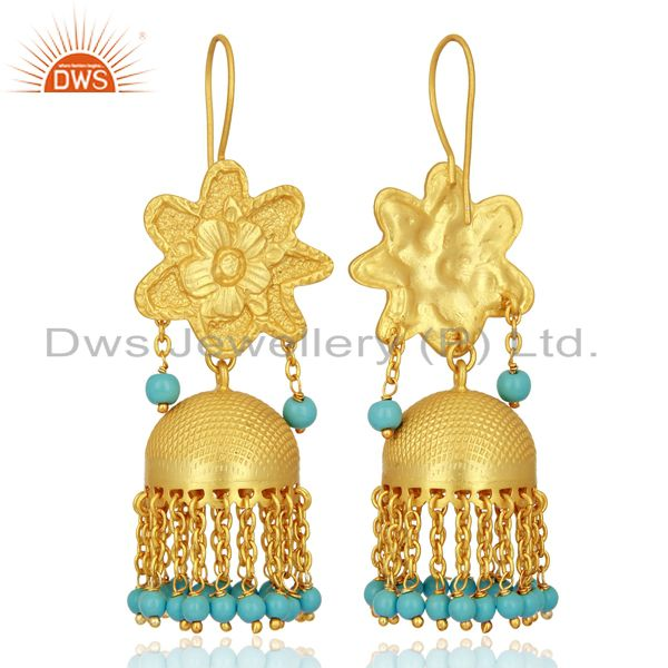 Exporter Turquoise Gemstone Gold Plated Silver Traditional Jhumka Earrings