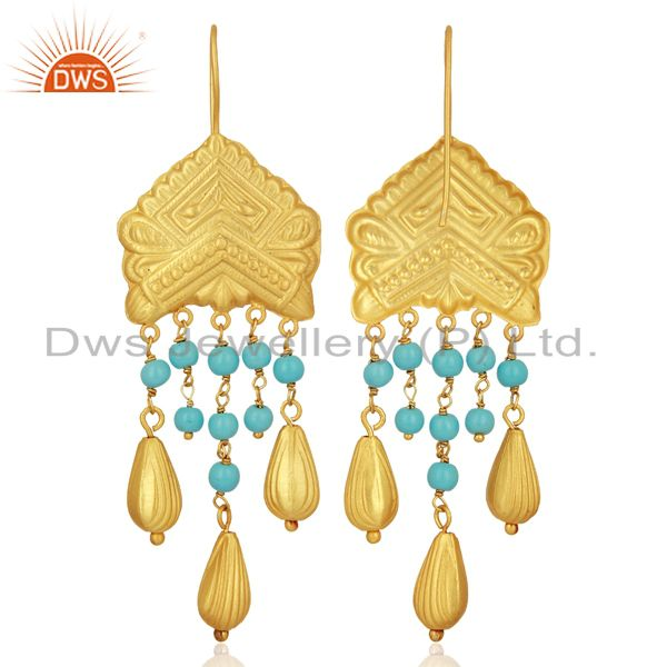 Exporter Natural Turquoise Gemstone Gold Plated Designer Silver Earring Jewelry