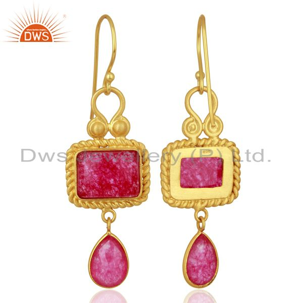 Exporter Red Aventurine Gemstone Gold Plated 925 Silver Earrings Wholesale