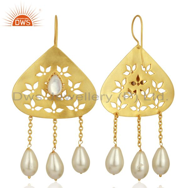 Exporter Natural Pearl Gemstone Silver Gold Plated Designer Earrings Supplier