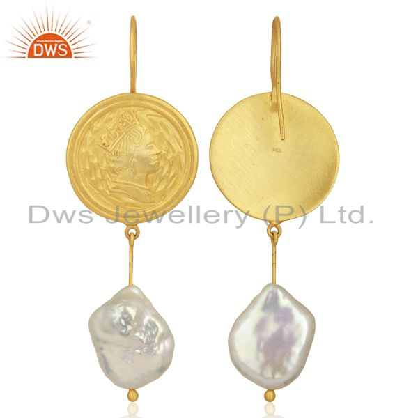 Exporter Gold Plated 925 Silver Designer Natural Pearl Gemstone Earring Jewelry