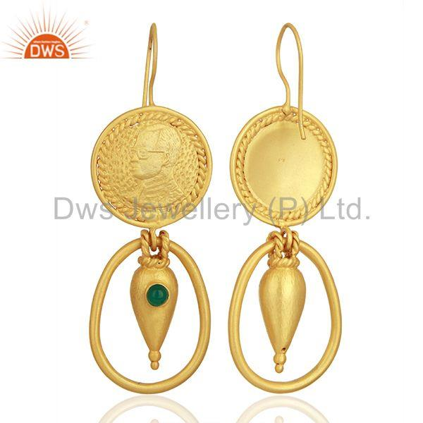 Exporter Green Onyx Gemstone Green Onyx Gemstone Fashion Earrings Supplier