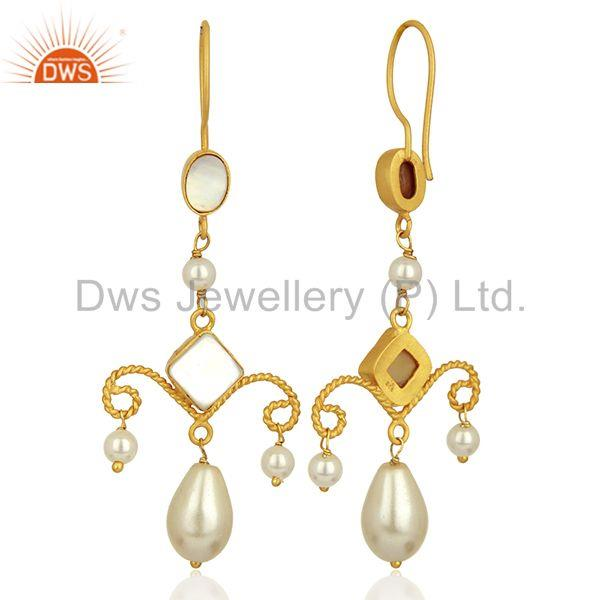 Exporter Indian Natural Pearl Gemstone Gold Plated 925 Silver Earring Wholesale