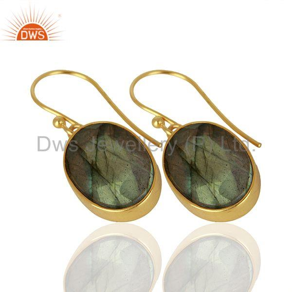 Exporter Labradorite Gemstone Gold Plated Silver Earrings Manufacturer Supplier