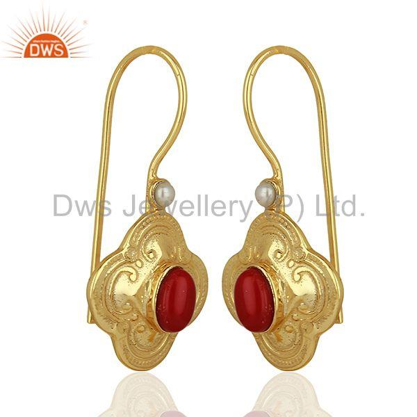 Exporter Coral Gemstone Gold Plated Silver Womens Earrings Jewelry Supplier