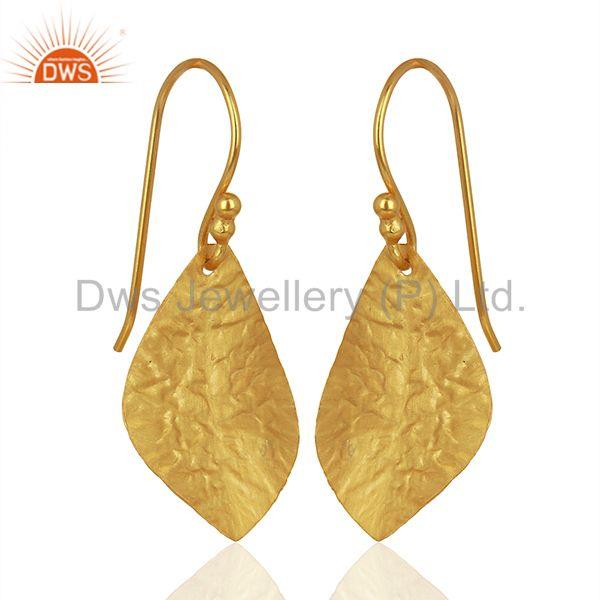 Exporter Textured Gold Plated Silver Designer Girls Earrings Jewelry Supplier