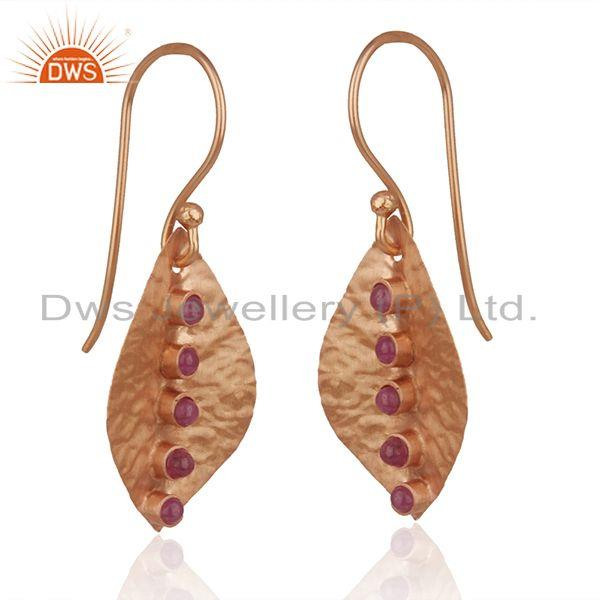 Exporter Ruby Gemstone Rose Gold Plated Sterling Silver Earrings Manufacturers