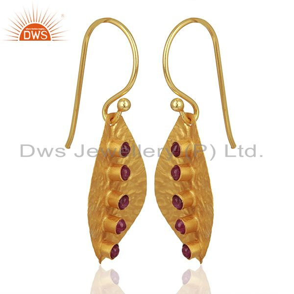 Exporter Leaf Design 925 Silver Gold Plated Natural Ruby Birthstone Earrings