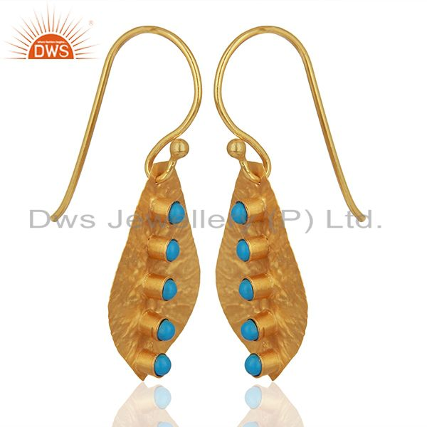 Exporter Turquoise Gemstone Gold Plated 925 Silver Drop Earrings Manufacturer