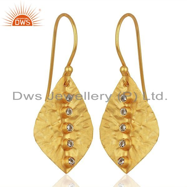 Exporter Leaf Design Gold Plated CZ Gemstone Girls Earrings Supplier Jewelry