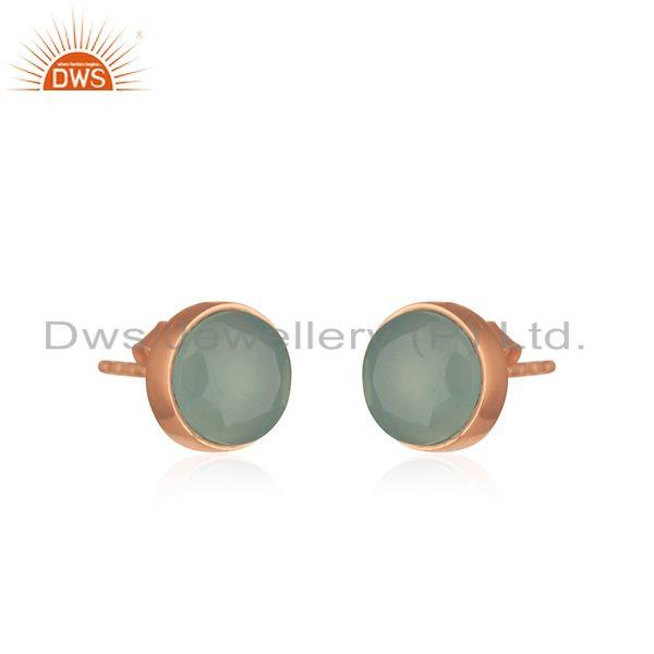 Exporter Chalcedony Aqua Gemstone Rose Gold Plated 925 Silver Stud Earrings